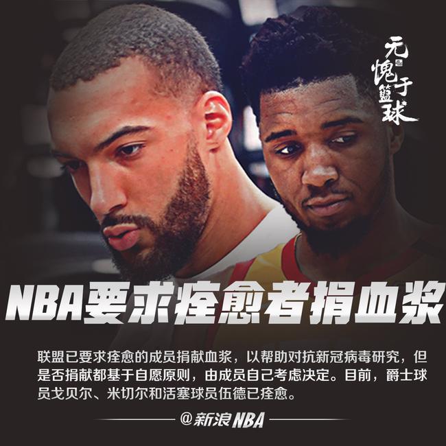 NBA要求感染过新冠病毒并痊愈的球员捐献血浆