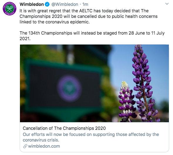 2020年温网赛事没了,75年来首次